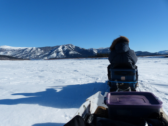 Snowmobile on the Yukon River