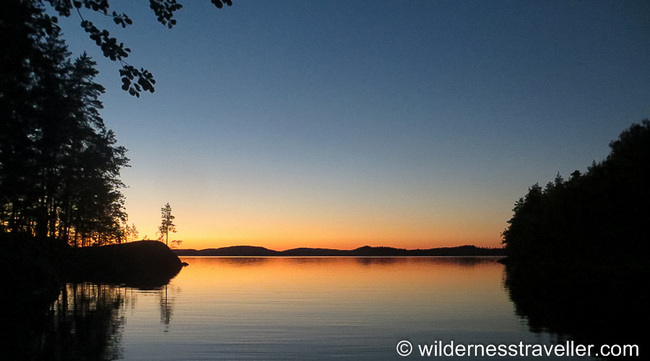 Sunset from my tent in Lake Saimaa
