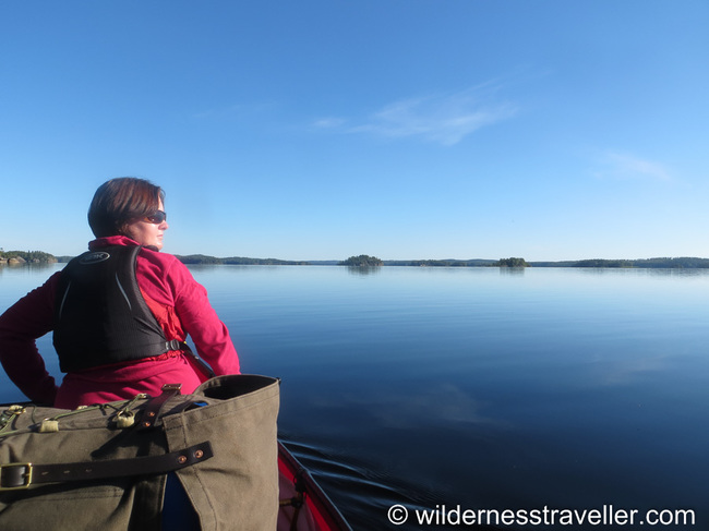 Canoeing in Finland on a calm lake