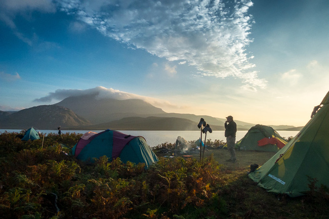 Camp set up on Loch Sionasgaig