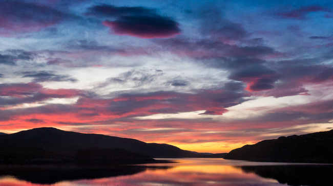 Sunset over Loch-Cam in Scotland