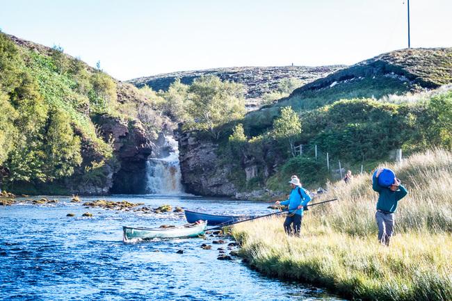 Canoe portage around a waterfall