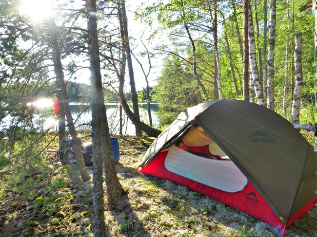 Camping by the lake in Finland