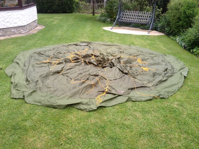 Tent drying on the ground