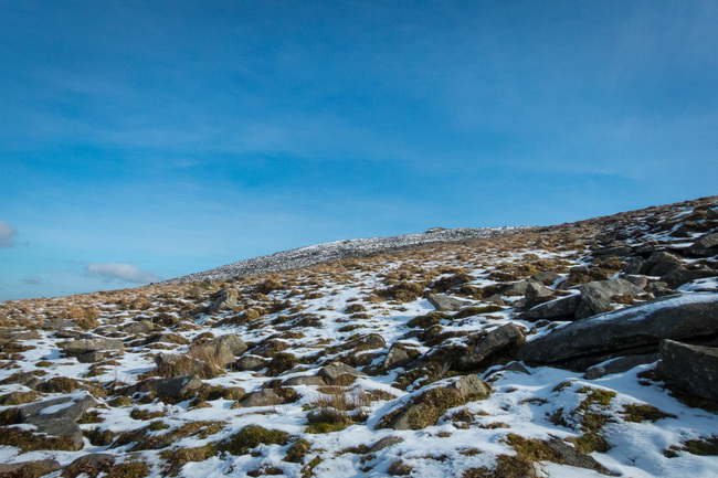 Looking up at Yes Tor on Dartmoor